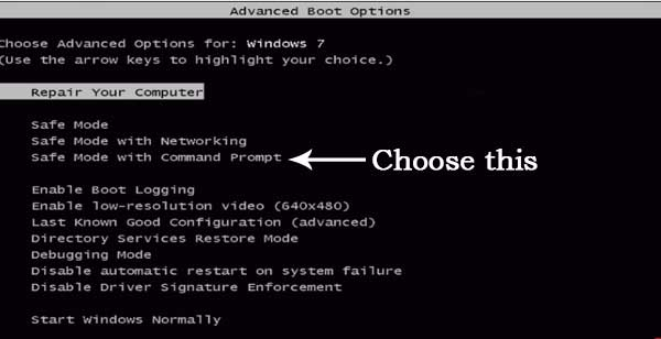 Windows Advance boot options