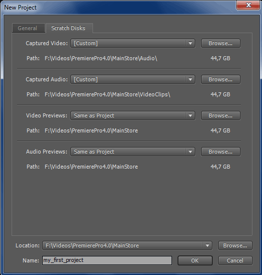 premiere pro cs4 new project scratch disks dialog