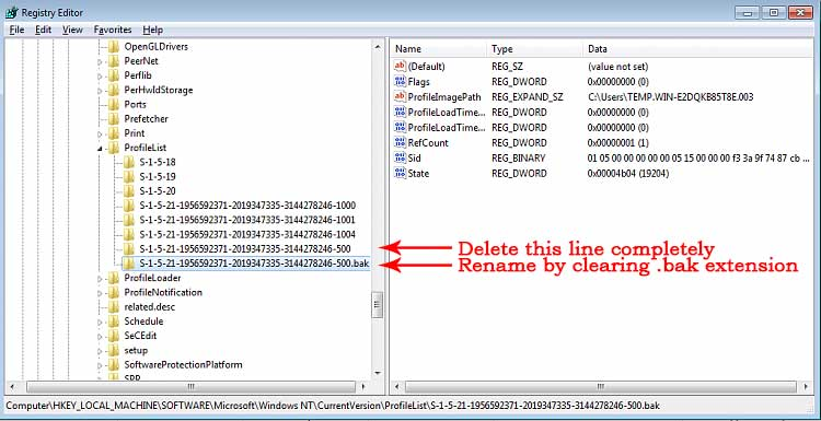 Edit Windows ProfileList in redistry.
