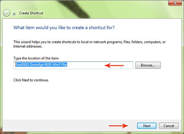 shortcut item location dialog