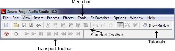 sound forge audio studio toolbar